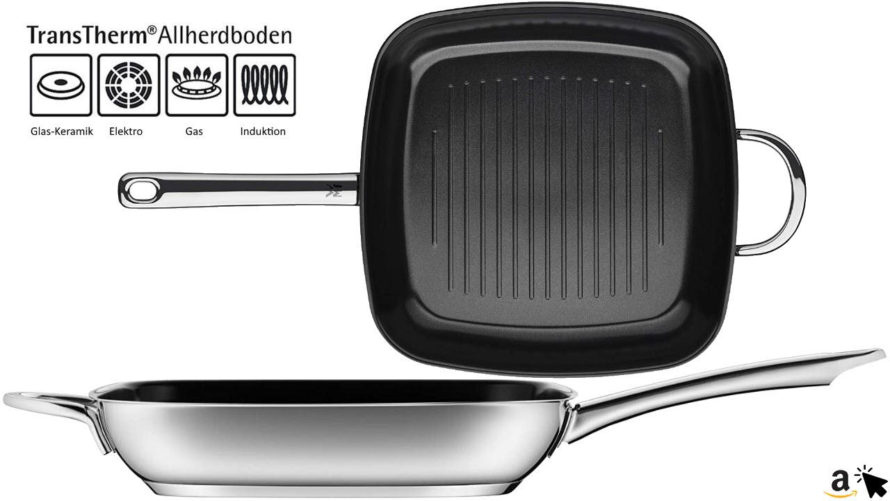 WMF Durado Grillpfanne Induktion gerillt 28x28 cm, Cromargan Edelstahl beschichtet, Keramikbeschichtung, backofenfest