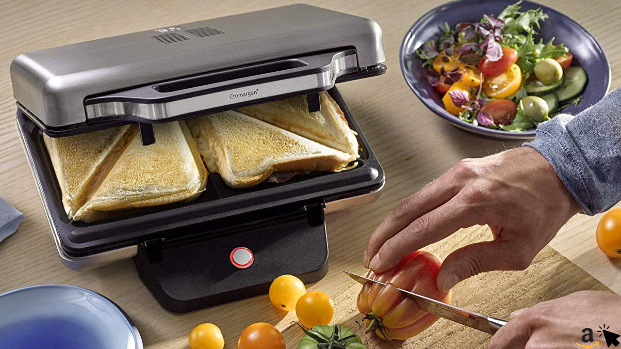 WMF Lono Sandwich Maker, Sandwichtoaster, für 2 Standard- oder XXL-Toasts, 2-stufige Höhenanpassung für mehr Füllung, edelstahl matt