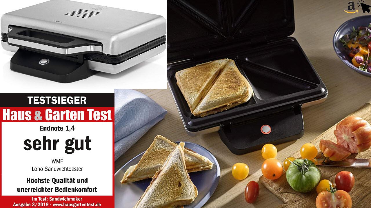 WMF Lono SandwichMaker, Sandwichtoaster, für 2 Standard- oder XXL-Toasts, 2-stufige Höhenanpassung für mehr Füllung
