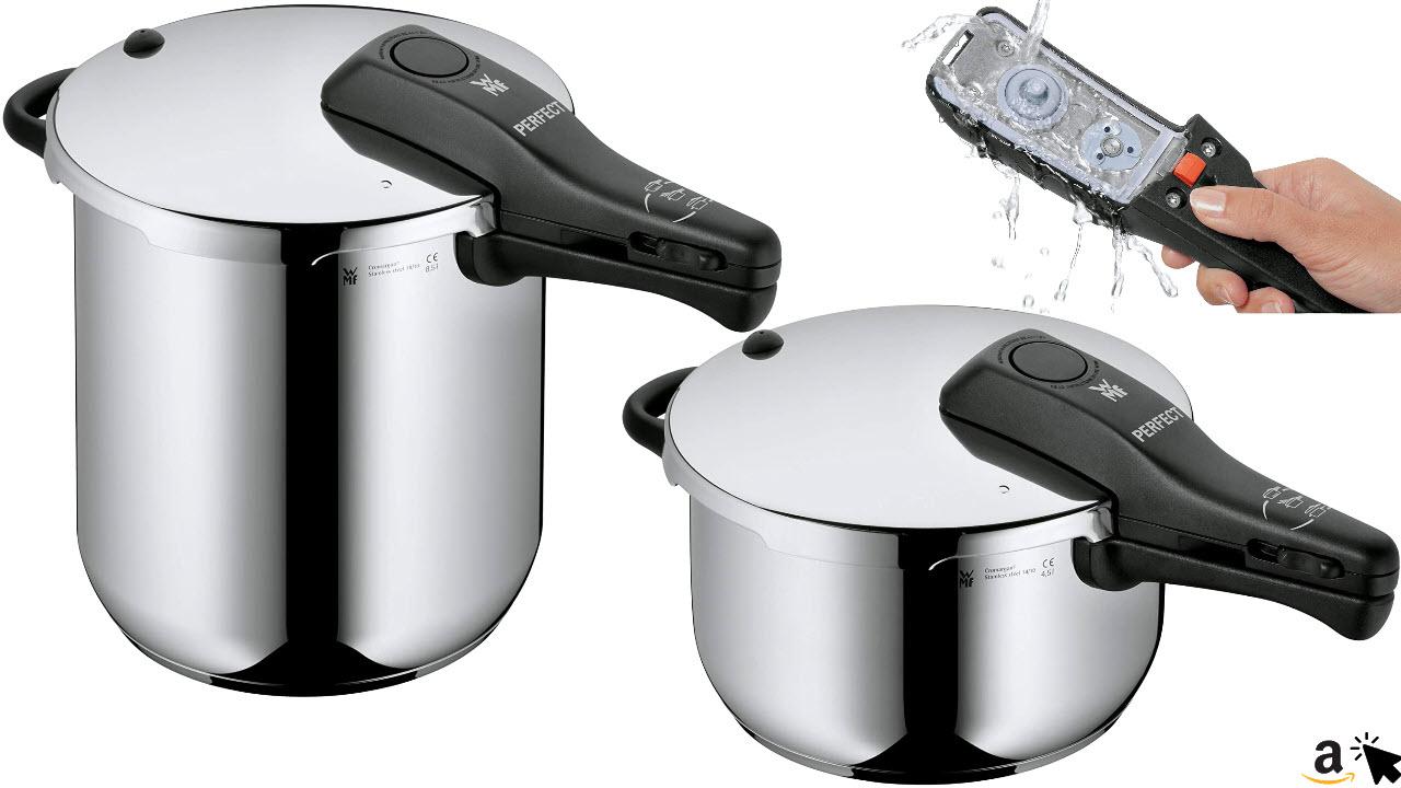 WMF Perfect Schnellkochtopf Dampfkochtopf, Cromargan Edelstahl poliert, für Induktionsherd, Gasherd, Elektroherd, Glaskeramikherd - 8,5L oder 4,5L