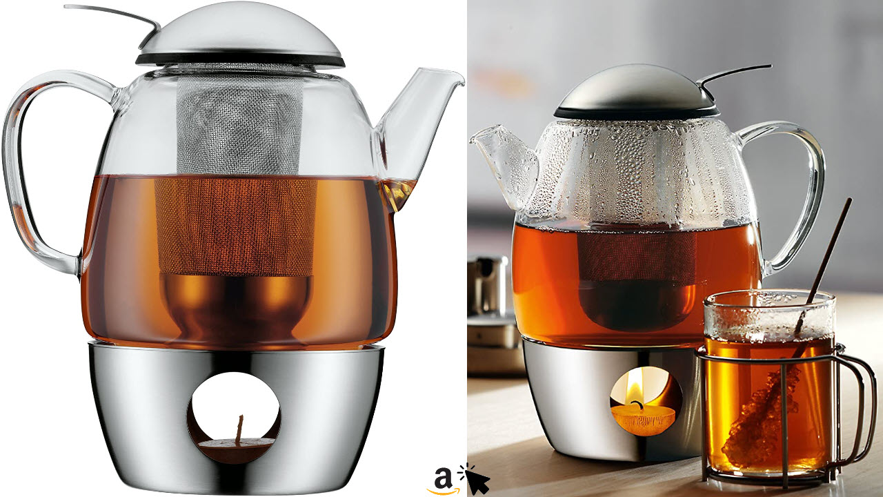 WMF SmarTea Teekanne, mit Sieb und Stövchen, Glas, Edelstahl Cromargan, spülmaschinegeeignet