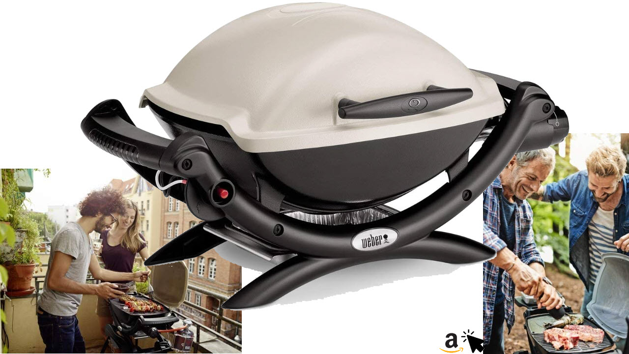 Weber 50060079 Gasgrill Q1000 für Balkon & Camping, Titan, Campinggrill, Grillen auf kleinen Balkonen