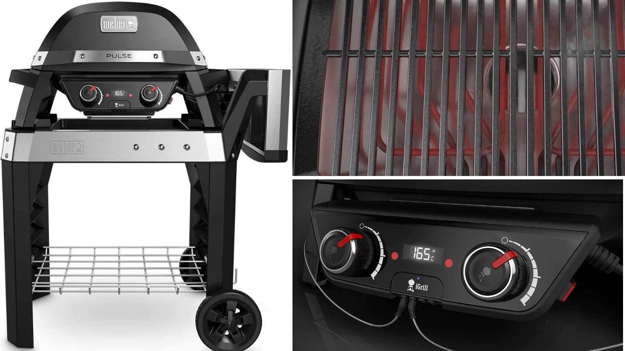 Weber Pulse 2000 Elektro-Grillwagen 2200W Schwarz, Edelstahl Barbecue