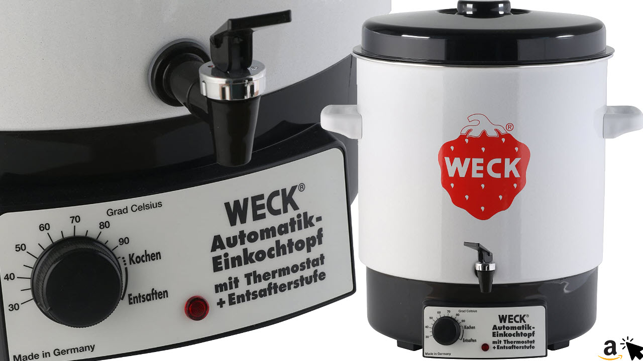 Weck Einkochautomat & Entsafter WAT 14A,Glühweintopf, Automatik-Einkochtopf, 230 V, 2000 W, 29 Liter