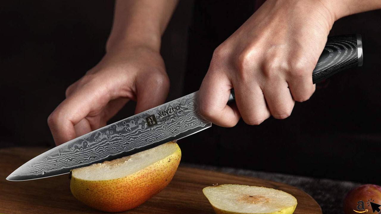 XINZUO Allzweckmesser 12,5cm Profi Kochmesser Japanische Damaststahl