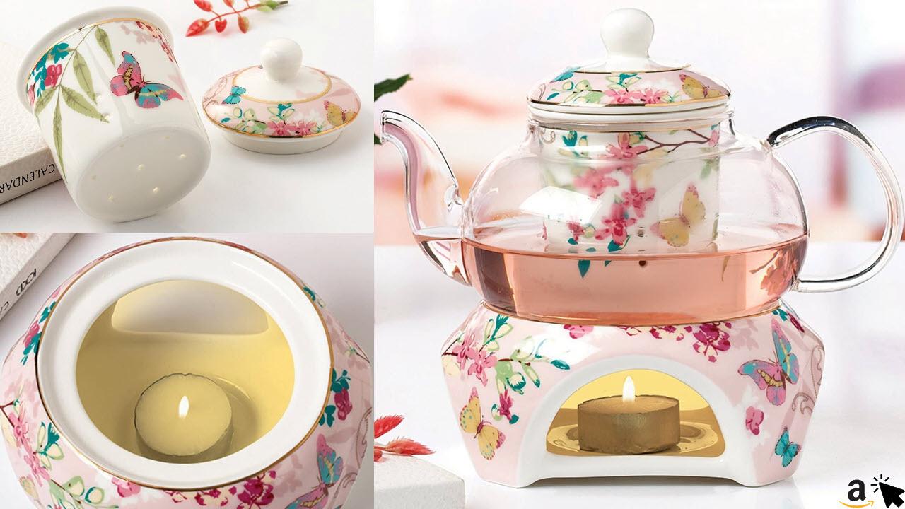 YBK Teekanne Teekanne aus feinem Porzellan mit Stövchen und Tee-Ei, Schmetterling-Design