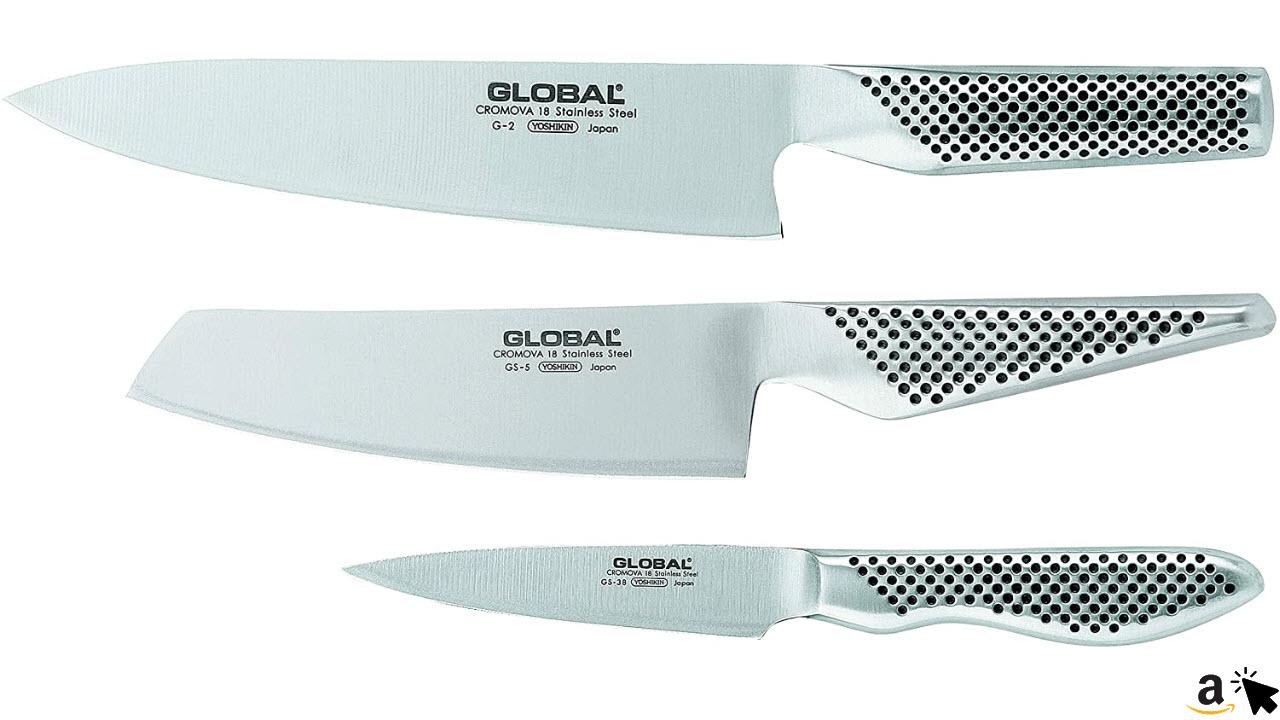 Yoshikin Global GS-2538 Messerset 3 teilig, Kochmesser G-2, GS-5 und GS-38