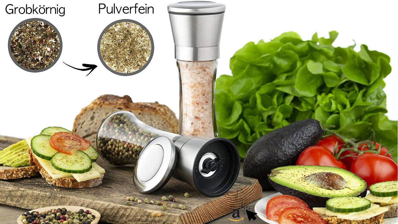 Zolmer Salzmühle & Pfeffermühle aus Edelstahl, Gewürzmühle 2er Set mit verstellbarem Keramikmahlwerk