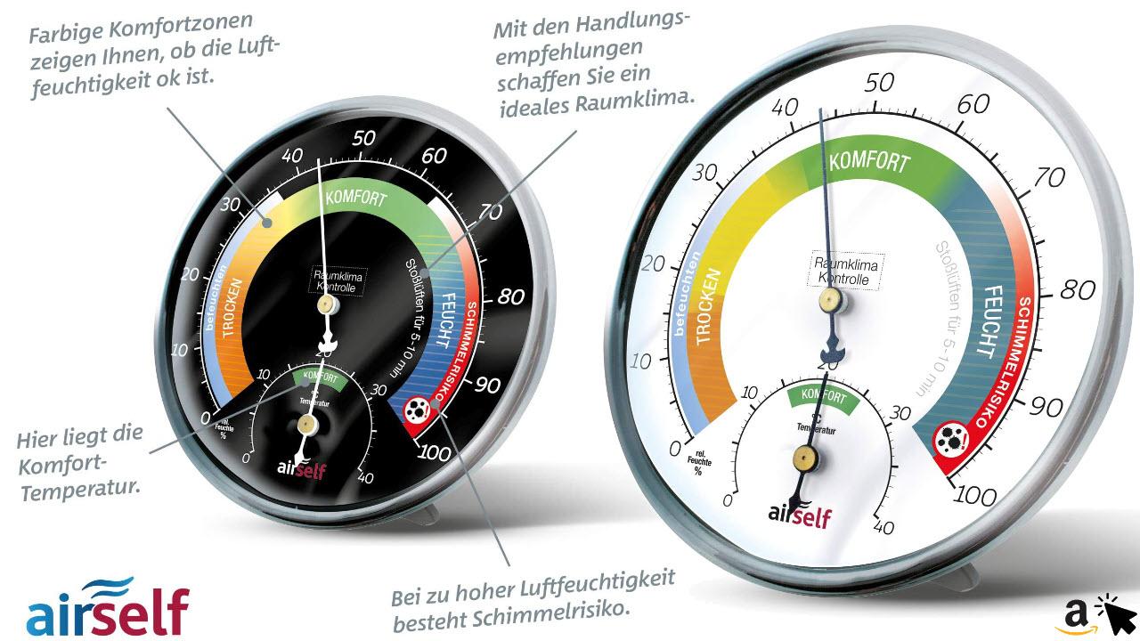 airself Thermohygrometer analog für innen – Raumthermometer und Feuchtigkeitsmesser in einem – Raumklimakontrolle mit farbigen Komfortzonen