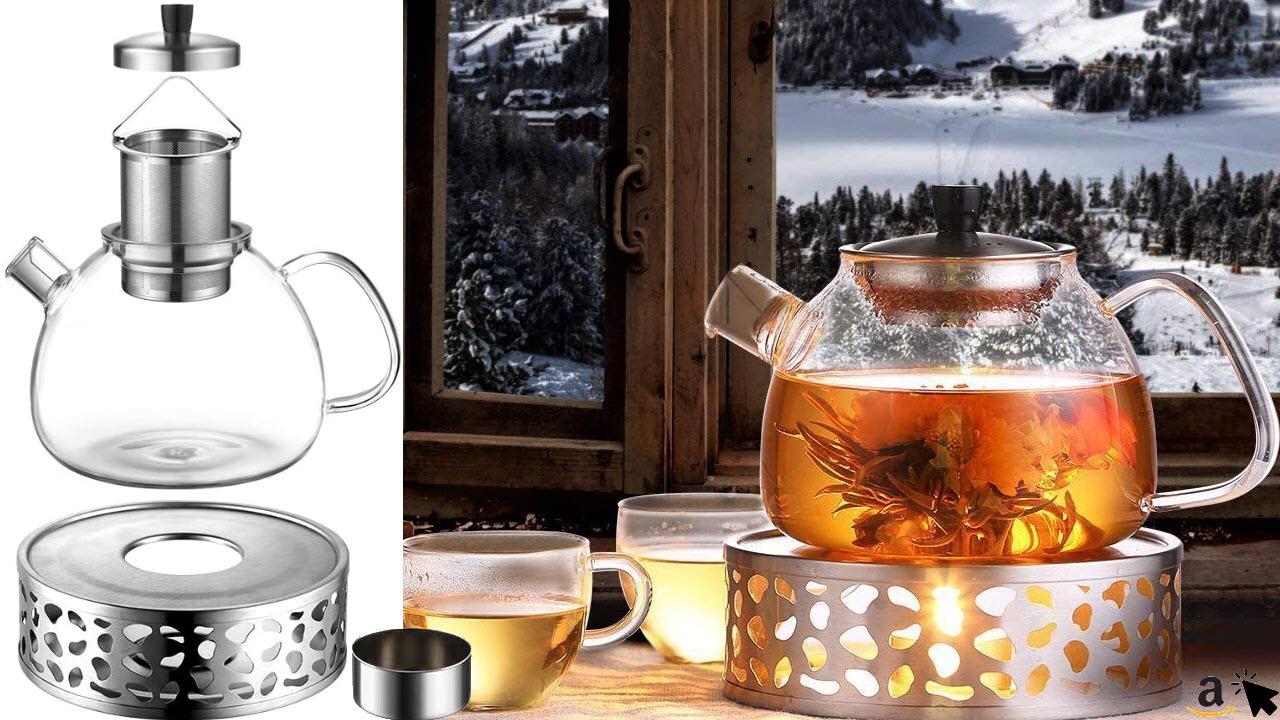 ecooe 1500ml Borosilicatglas Teekanne Glas mit Edelstahl Teelicht-Stövchen Teebereiter mit Edelstahl-Sieb