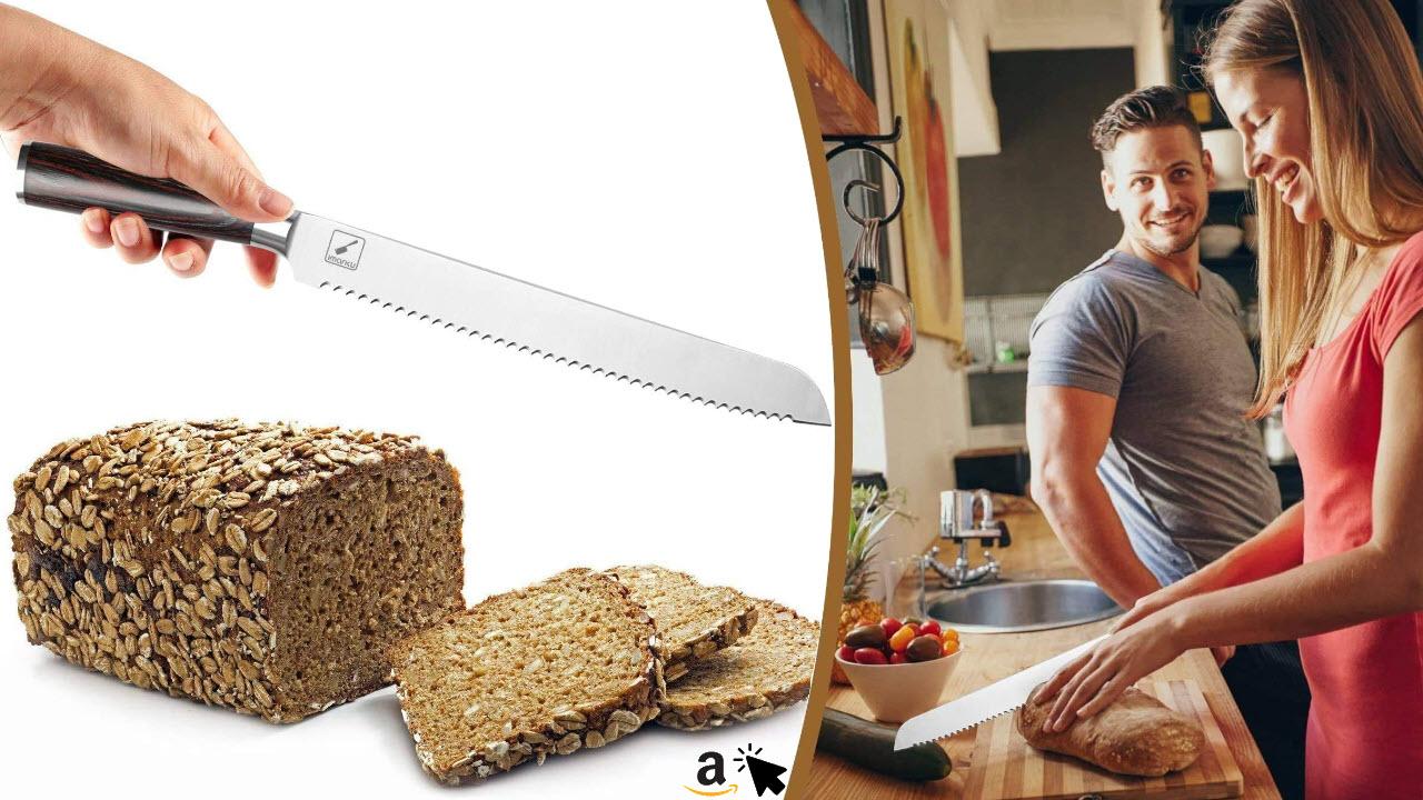 imarku Brotmesser Profi 25 cm Brötchenmesser Wellenschliff Holzgriff und Extra Scharfe Fein Rostfreier Edelstahl Groß Sägemesser