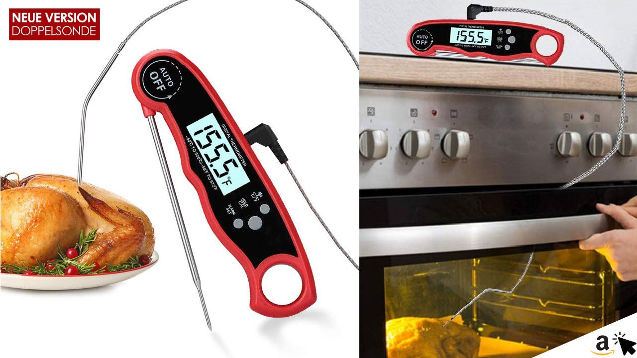 kinkaivy Digital Fleischthermometer Grillthermometer mit 2 Edelstahlsonden & langem Draht