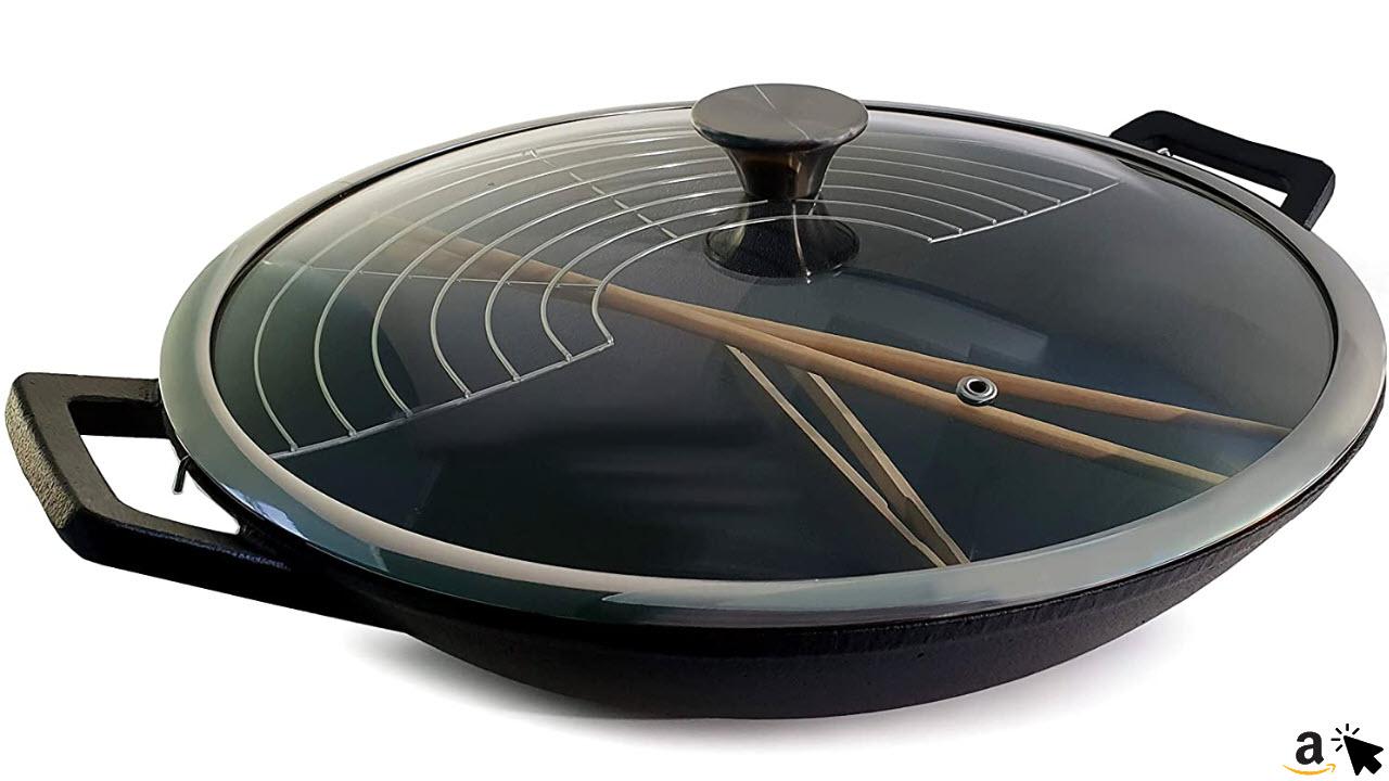 osoltus Gusseisen Wok-Set mit Zubehör & Glas-Deckel