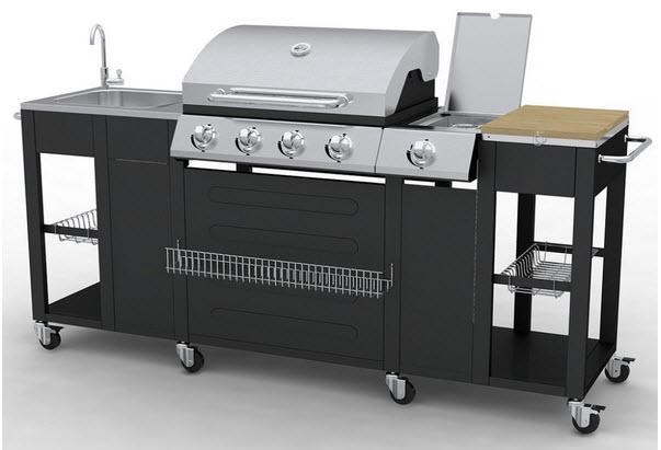 vidaXL Gasgrill-Außenküchemit Kochplatten, Waschbecken und Schneidebrett